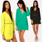 Sexy Women Summer Casual Long Sleeve Party Chiffon Short Mini Dress Plus Size