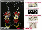 Bashful Minnie Mouse Earrings Charm *OPTIONS* Hypoallergenic Pierced OR Clip On