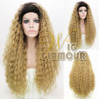 "Long Spiral Curly 20""- 28"" Black With Blonde Lace Front Synthetic Wig"