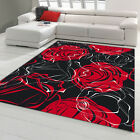 TAPPETO MODERNO - MICROCINIGLIA RED ROSES ROSE ROSSE ANTISCIVOLO MADE IN ITALY