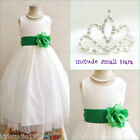 Adorable Ivory/kelly emerald green flower girl dress FREE SMALL TIARA all sizes