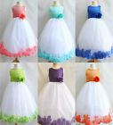 Adorable White Coral Pool Fuchsia purple rose petals flower girl dress all sizes