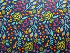 Timeless Treasures Fabric Navy Blue Floral Samara Quilt Fat Quarter, By the Yard