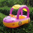 New Inflatable Baby Float Seat Boat Tube Ring Car Type Sun shade Swimming Pool