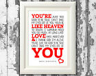 Frankie Valli Cant Take My Eyes Off You Lyric Posters Prints Typography Design