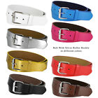 "B570 - Genuine Leather Casual Jean Belt Strap with Rollerbuckle, 1-1/2"" Wide"