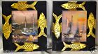 Pair of Ship Canvas Oil Paintings w. Black & Gold Fish Vintage Wood Frames 13x15