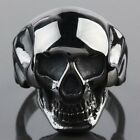 Men's Black Stainless Steel Carved Skull Head Motorcycle Band Finger Rings 7-14
