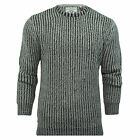 FISHERMANS JUMPER MENS GREY BLACK CREW NECK CABLE KNIT