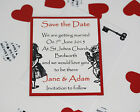 ALICE IN WONDERLAND wedding : SAVE THE DATE; 3 designs, 60 colours/any qty