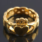 Gold Stainless Steel Hands Love Irish Wedding Promise Crown Heart Claddagh Ring