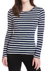 M&S NEW WOMENS NAVY WHITE STRIPE LONG SLEEVE cotton T SHIRT TOP SIZES 8-20