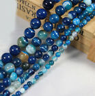 Hot Blue Striped Agate Round Gemstone Loose Spacer Beads Stone 4/6/8/10/12mm