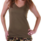 LADIES KHAKI GREEN ARMY VEST TANK TOP FANCY DRESS MILITARY HEN NIGHT 8-16
