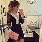 New Women Sexy V-neck Long Sleeve Black Lace Evening Cocktail Party Mini Dress