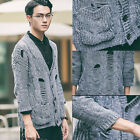 Men's Fashion V Neck Gray Ripped Sweater Coat 3/4 Sleeve Casual Knit Cardigans