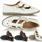 Ladies Girls Geek Retro Classic Flat T Bar Casual Cut Out 2 Buckle Shoes Sandals