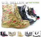 cheap jelly boots - Women Jelly Rain Boots Lace up Ankle height Flat Rubber Wellies Printted Shoes