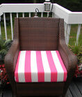 SEAT CUSHION FOR DEEP SEATING CHAIR - PINK & WHITE STRIPE -CHOOSE SIZE