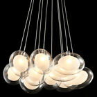 Double-Layer Oval Glass Shaded Multi Pendant Light Chandelier Ceiling Chrome