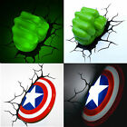 Marvel Avengers Captain America Shield/HULK FIST 3D Deco Wall LED Night Light