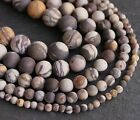 "Zebra Jasper frosted round matt beads. 15"" strand. Size 4mm-12mm SP170"