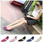 Simple Women's Pointed-toe Low Mid Kitten Heels Shallow Pumps Work Wedding Shoes