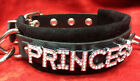 Leather choker crystals collar PRINCESS Customizable-W/ 6 foot leash *Any word