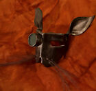 Leather art Steampunk bunny mask  Bronze with goggle/lens & horse hair whiskers