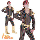 Adult Ziggy Stardust Costume 70s David Bowie Mens Pop Star Fancy Dress Outfit