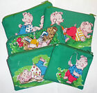 CUTE GREEN FUNNY CARTOON PIGS PLAYING COTTON FABRIC HANDMADE MINI BAG COIN PURSE