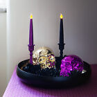 Pair of Black or Purple Glitter Battery Operated Flickering LED Taper Candles