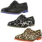 Spot On Ladies Lace Up Brogues with Coloured Outsole
