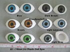 6 PAIR 14mm OVAL PLASTIC DOLL EYES Mix Colors Dolls, Trolls, Art, Crafts  (A-1)