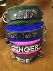 Leather choker crystals collar BOY TOY Customizable-W/ 6 foot leash *Any word