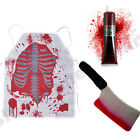 HALLOWEEN BLOODY BUTCHER ZOMBIE BLOOD CLEAVER APRON FANCY DRESS COSTUME