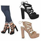womens ladies new block heel cut out tie back platform open toe ankle shoes size