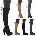 womens ladies new tall over the knee block heel faux suede tie back boots size