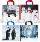 CHRISTMAS PRINTED STRONG CARRIER BAG SHOPPING GIFT BAGS PLASTIC 54cm x 45cm NEW