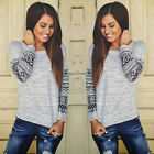 New Fashion Womens Long Sleeve Shirt Casual  Blouse Loose Cotton Tops T-Shirt