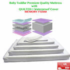 Baby Toddler Cot Bed WATERPROOF and QUILTED MEMORY FOAM Mattress All Sizes Avail