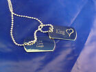 Military style dog tags personalised message Valentine Love Poem FREE engraving