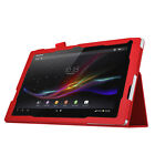 PU Leather Folio Case Stand Cover Sony Xperia Z4 Tablet Black Brown Red Purple