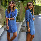 2015 New Style Women's Dress Casual Denim Long-sleeved Loose Dresses  UK13