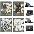 Break Through Dogs Folio Cover Leather Case For Apple iPad Tablet