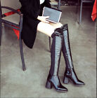 Womens Patent leather Pointed Over Knee Long Boots Chunky Heel Motorcycle Boots