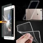 Slim Transparent Clear Soft TPU Case Cover + Tempered Glass Protector For Phone