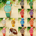 Women Girl Roman Numerals Leather Band Quartz Wristwatch Cuff Bracelet Xmas Gift image