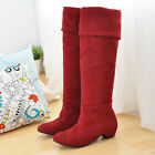 Fashion Women's Faux Suede Shoes Stretchy Low Heel Pull On Knee High Boots F021