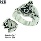 New Masonic Men's Stainless Steel Heavy Duty Solid Ring Style # 634